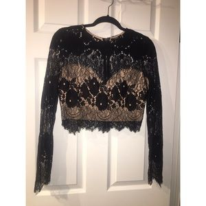 Black Lace Long Sleeve Crop